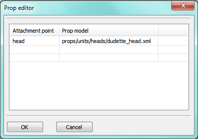 Screenshot of prop editor