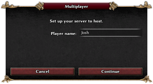 Screenshot of multiplayer host window