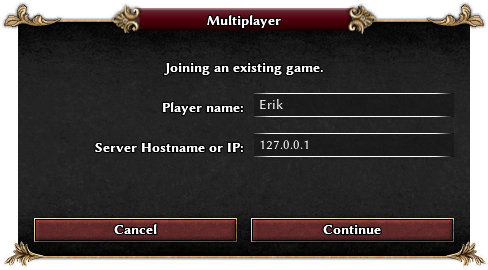 Screenshot of multiplayer join window