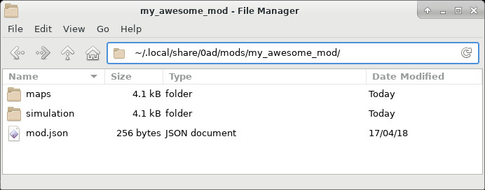Example of a mod folder - collection of files